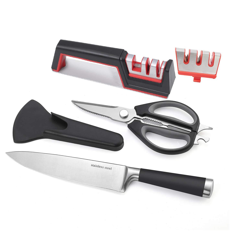 To encounter Kitchen Knife Sharpener Scissors Sharpener 3 Stage Sharpening Kitchen 8 Inch Chef's Knife 8 in 1 Cooking Scissors For Meats Vegetables with Protective Case Nut Cracker Bottle Opener