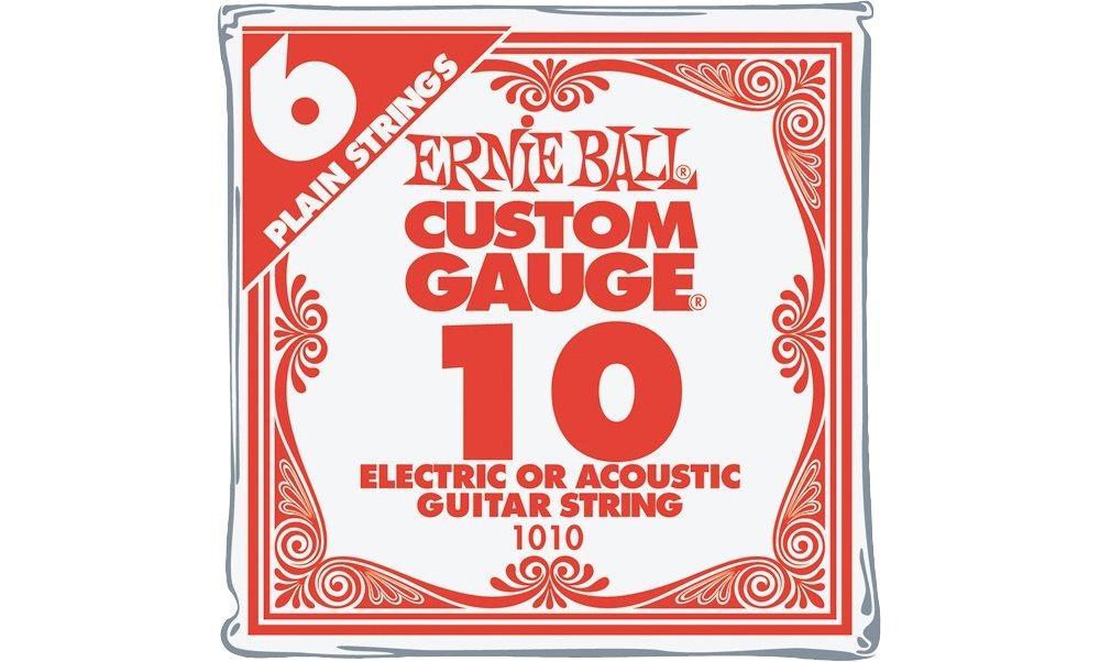 Ernie Ball Nickel Plain Single Guitar String .010 6-Pack P00010
