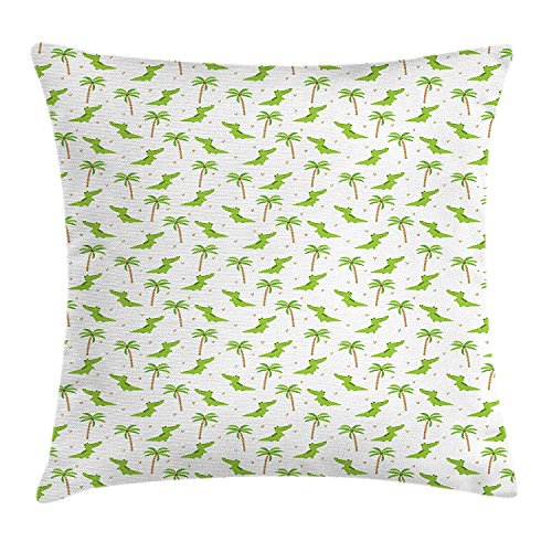 (Alligator Throw Pillow Cushion Cover, Cartoon Crocodiles with Tropical Palm Trees for Kids Nursery Design, Decorative Square Accent Pillow Case, 18 X 18 inches, Lime Green Camel White)