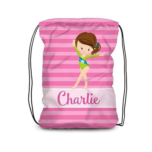 a149ed809d66 Amazon.com  Gym Drawstring Backpack - Pink Stripe Gymnastic Bag  Handmade