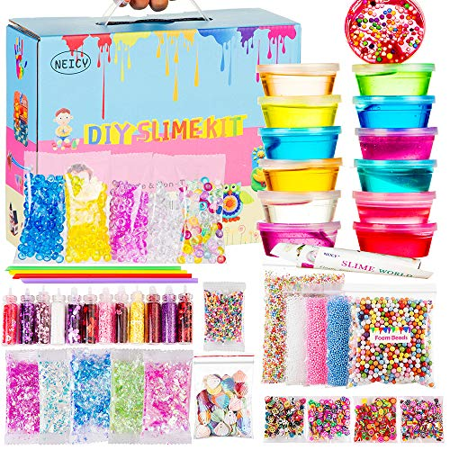 NEICY Slime Kit Slime Supplies, Slime Making Kit for Girls Boys Kids, Includes Clear Crystal Slime, Slime Containers, Foam Balls, Fruit Slices, Fishbowl Beads, Sugar Paper,Make Your Own Slime