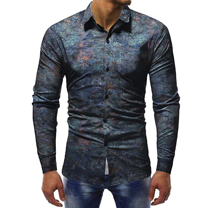 Blusas Hombre Manga Larga,Stand-Cuello Personalidad Casual De La Moda Camisa De La
