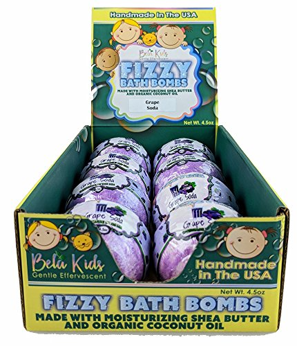 Bath Bombs - Grape Soda Scented, USA Made with Organic Coconut Oil, Moisturizing Shea Butter, Great Holiday Gift Set for Kids 4.5oz. Each - 8 Pack ()