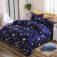 Kids Boys Cotton Blend Star Twin Size Complete Bed and Sheet Set Bed Pillowcase Comforters Set (TWIN04)