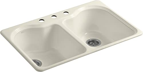 Kohler K-5818-3-47 Hartland Self-Rimming Kitchen Sink with Three-Hole Faucet Drilling, Almond