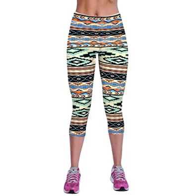40e99db214d Buy Segolike New Fashion Women Capri Leggings High Waist Printed Cropped  Yoga Pants Fitness Workout Casual Trousers Online at Low Prices in India