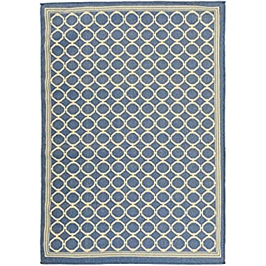 Ottomanson Jardin Collection Natural Geometric Trellis Design Indoor/Outdoor Jute Backing Area Rv Patio Mat Rug, Blue, 5'3  x 7'3