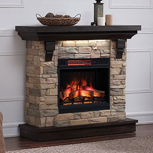 Eugene Electric Fireplace Mantel Package in Aged Coffee