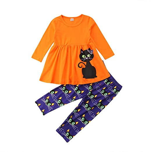 7780bd1f88b7a6 Halloween Toddler Kids Girls Cute Ghost Tassels T-Shirt Tops + Long Leggings  Pants 2Pcs