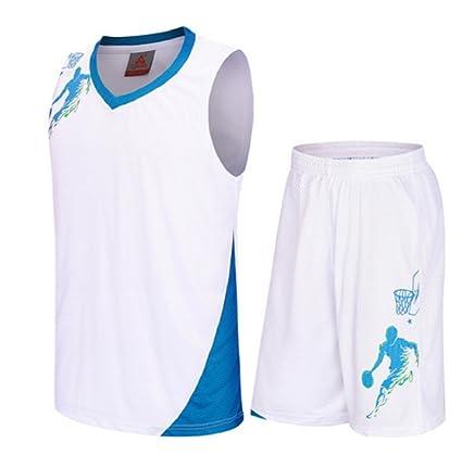 a9983ed1def Basketball Uniforms kits Child Sports clothing Breathable basketball jerseys  shorts (White, L)