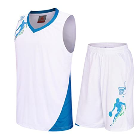 5579b0b62abc Basketball Uniforms kits Child Sports clothing Breathable basketball jerseys  shorts (White