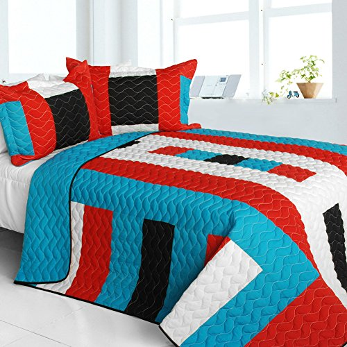 [Vital Vibrations] Vermicelli-Quilted Patchwork Geometric Quilt Set Full/Queen