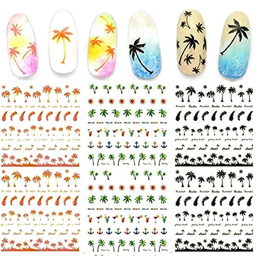 Hawaii Palm Tree Tropical Beach Nail Art Stickers Water Transfer Decals