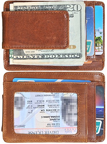 Money Clip Slim Wallet Thin Front Pocket Wallet Genuine Leather RFID Blocking (Brown (ID Window)) ()