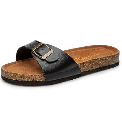 6fde63a2af5 TRENDYWAY Women s Cork Footbed Sandals Pu Upper C1012 (36