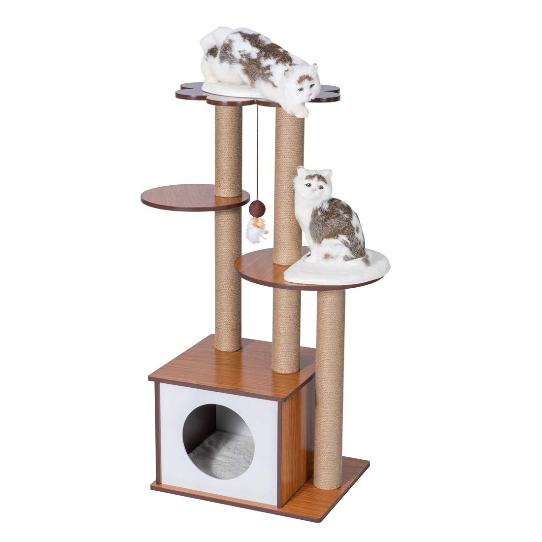 Good Life 42'' Modern Style Wood Deluxe Cat Tree Furniture Kitten House Condo for Small to Middle Pet Cats Climbing Play Tower with Scratching Post PET596 by GOOD LIFE USA