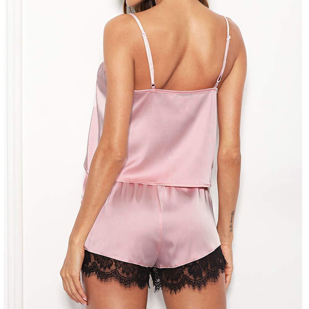 ShangSRS Pigiami Corti Donna Biancheria da Notte Pizzo Patchwork Raso Camicie da Notte Donna Cami Top Pantaloncini Set da Pigiama