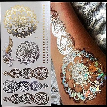 lijinjin Brillo Arte Corporal Pintura Flash Oro Tatuaje Gran Árabe ...
