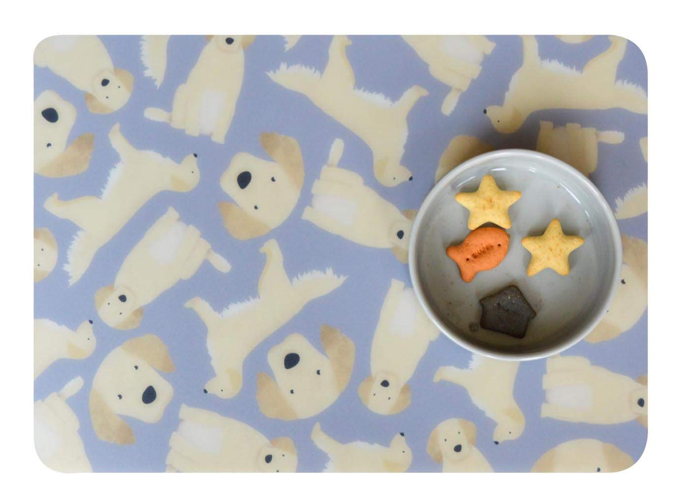 Poppy /& Duke Pet Placemat//Feeding bowls Mat Large A3 Dog Cat Retriever Grey B//G