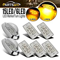 "Partsam Led Freightliner Century/Columbia Lights Kit, 5x Rectangle Clear/Amber 6 LED Cab Roof Top Clearance Marker Light for Volvo + 2x 5-7/8"" Teardrop Sleeper Clear/Amber Clearance Marker Light 15Led"