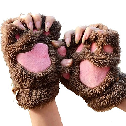 Bear Hands Mittens (JYS Womens Bear Paw Fluffy Plush Glove Winter Half Covered Soft Toweling)