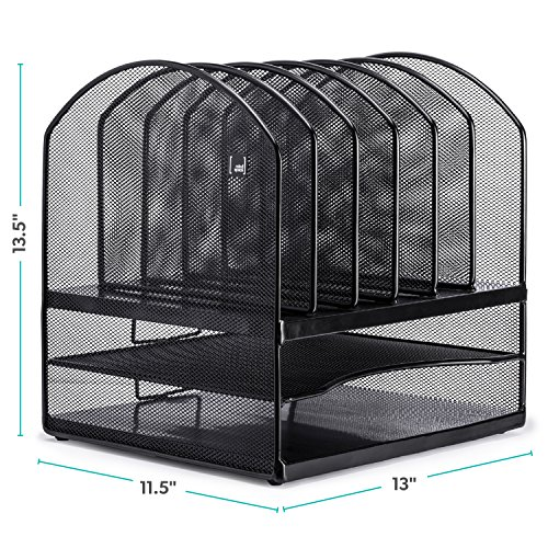 Mindspace Desktop File Organizer – 6x Vertical Notebook/Letter Holders + 2x Horizontal Shelf Sections – Extra Strong Metal Mesh – Great for Teachers, Home, or Office Organization by Mindspace (Image #3)