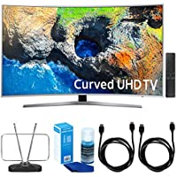 Samsung UN49MU7500 48.5 Curved 4K UHD Smart LED TV (2017) w/ TV Cut The Cord Bundle Includes, Durable HDTV & FM Antenna, 2x 6ft. High Speed HDMI Cable & Screen Cleaner (Large Bottle) for LED TVs