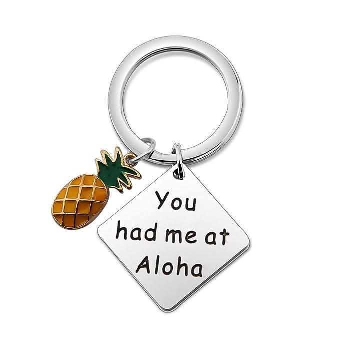 Amazon.com: SEIRAA You Had Me at Aloha Llavero de piña ...