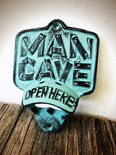 Rustic Patina Man Cave Wall Mount Bottle Opener – Durable Cast Iron – Unique Bar Décor – Men's Stocking Stuffer