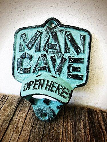 Rustic Patina Man Cave Wall Mount Bottle Opener - Durable Cast Iron - Unique Bar Décor - Men's Stocking Stuffer