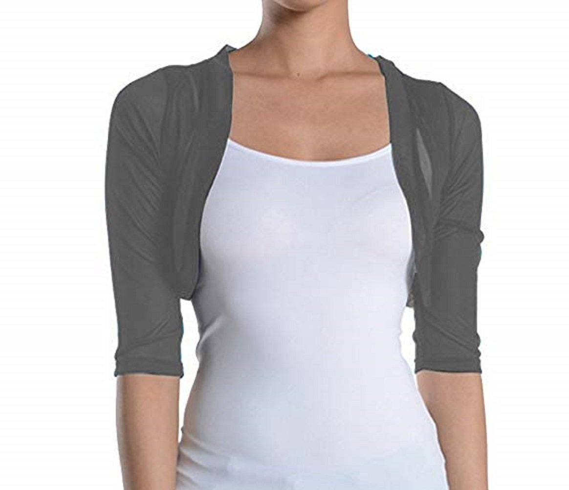 Fashion Secrets Junior`s Sheer Chiffon Bolero Shrug Jacket Cardigan 3/4 Sleeve (XXX Large, Charcoal)