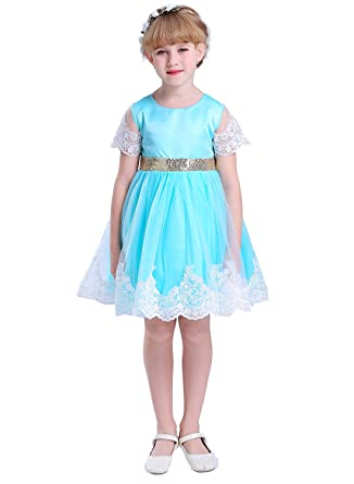 Vintage Flower Girls Lace Dresses with Sleeves Kids Party Gowns Aqua Blue 10 18a0e52db