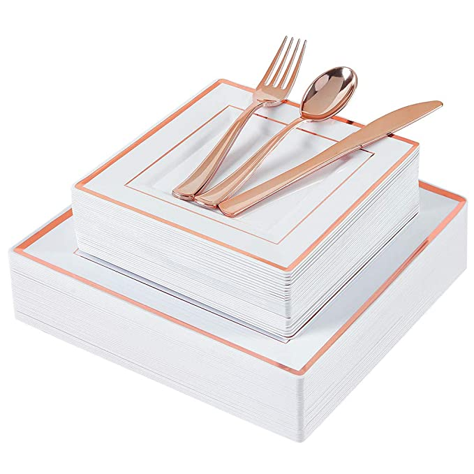 WDF 125pcs Rose Gold Plastic Plates with Disposable Plastic Silverware-Rose Gold Rim Square Plastic Dinnerware include 25 Dinner Plates,25 Salad Plates,25 Forks, 25 Knives, 25 Spoons