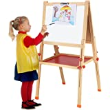 Wishkey Big Size Wooden Adjustable Double Sided Magnetic Drawing Board for Kids