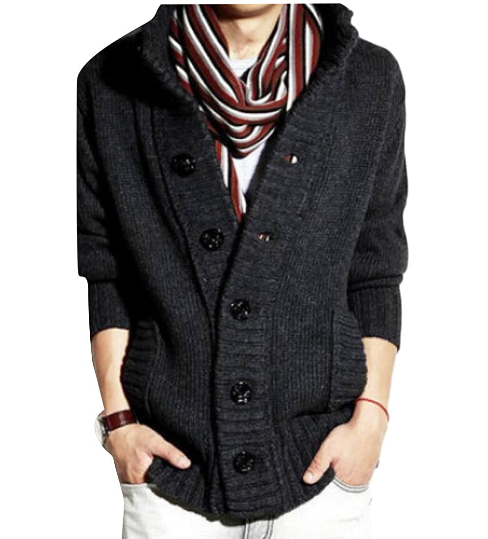 yibiyuanMen yibiyuan Men Long Sleeve Shawl Collar Knitted Slim Fit Button Cardigan Sweaters