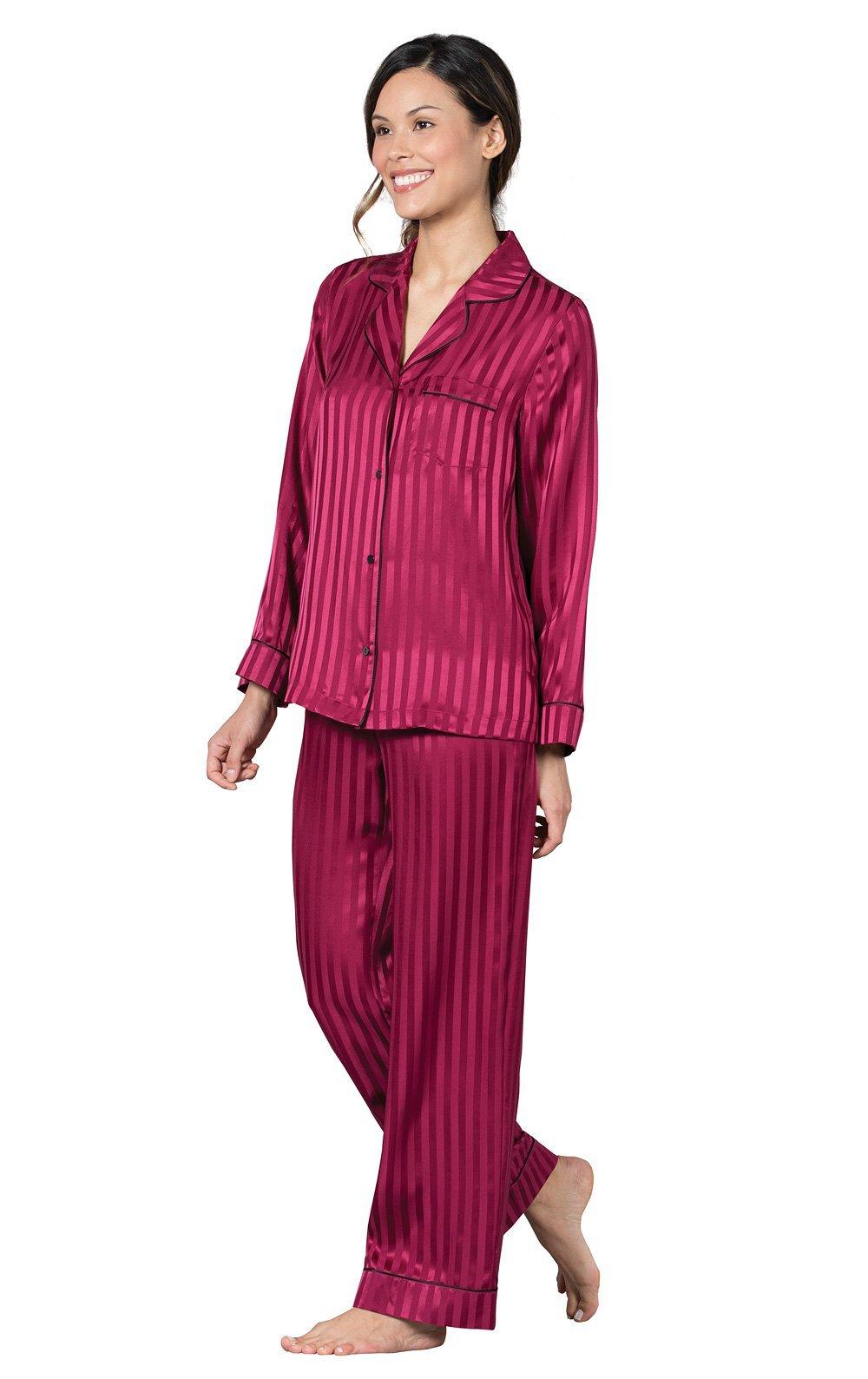 PajamaGram Striped Silk Button-Front Women's Pajamas, Merlot, Med (8-10)