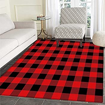 Amazon Com Alaza Christmas Red Black Plaid Area Rug Rugs