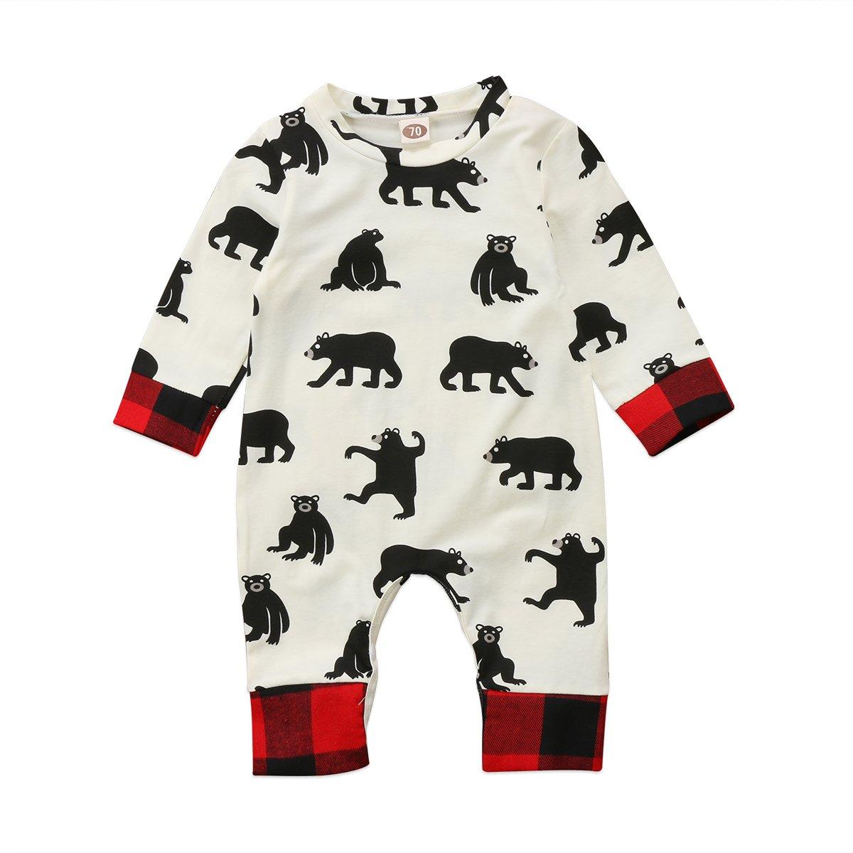 Carolilly Unisex Baby Christmas Bodysuits Toddler Long Sleeve Romper Baby Boys Girls Overalls Jumpsuit