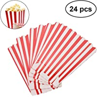 NUOLUX Popcorn Boxes Holder Containers Cartons Paper Bags Stripe Box for Movie Theater Dessert Tables 24pcs (Red)