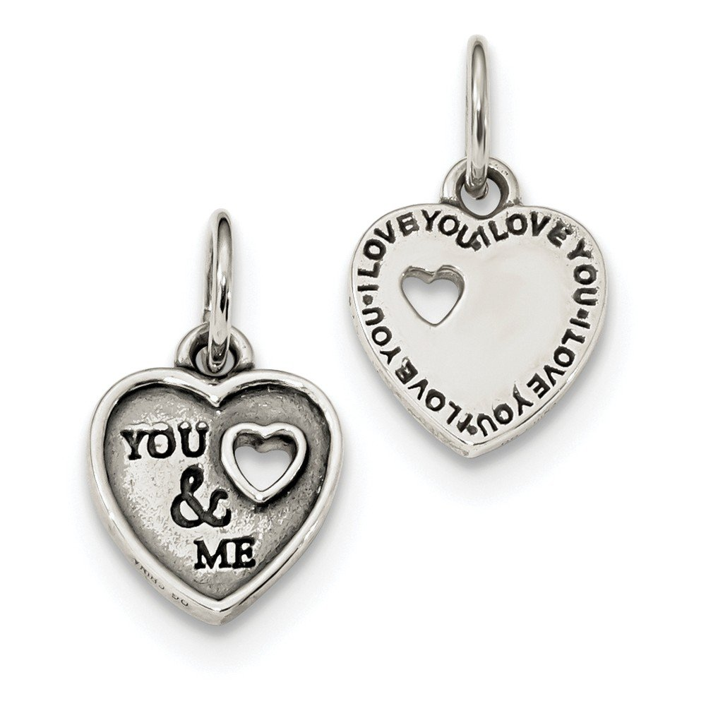 Sterling Silver Oxidized You Me Pendant 11.5 mm 20.5 mm Themed Pendants /& Charms Jewelry