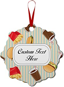 Aluminum Christmas Ornament Fast Food Seamless Pattern Style A Other Burger Holiday Xmas Tree Decoration 1 Size London Shape Personalized Text Here
