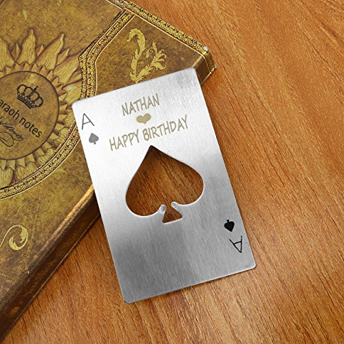 Personalized Custom Beer Bottle Opener, Yoption 10 Pcs Engraving- Personalized Custom Stainless Steel Credit Card Size Casino Beer Bottle Opener for Your Wallet 10, Poker-Engraving