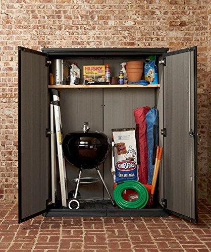 Keter dark grey high store vertical outdoor resin storage for Garden shed uae