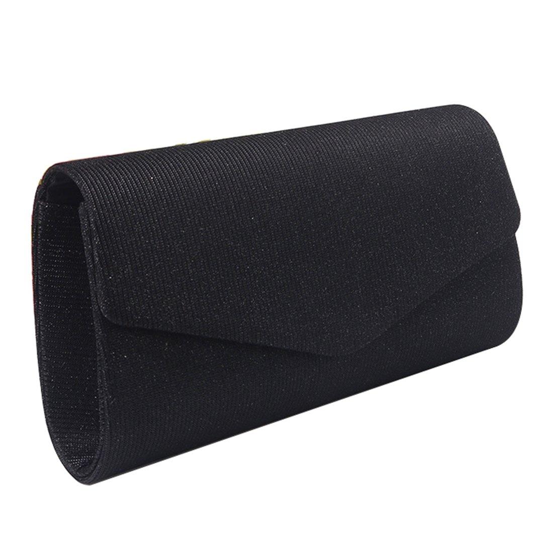 Satin Silk Evening Bags Elegant Envelope Flap Clutch Purse Handbag for Women (Black)