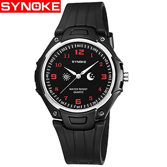 FENKOO® Reloj Inteligente SYNKOE SYNOKE Simple Urban Macho Impermeable Reloj de Pulsera de Cuarzo para jóvenes Reloj de Moda Casual para Hombre 9618: ...