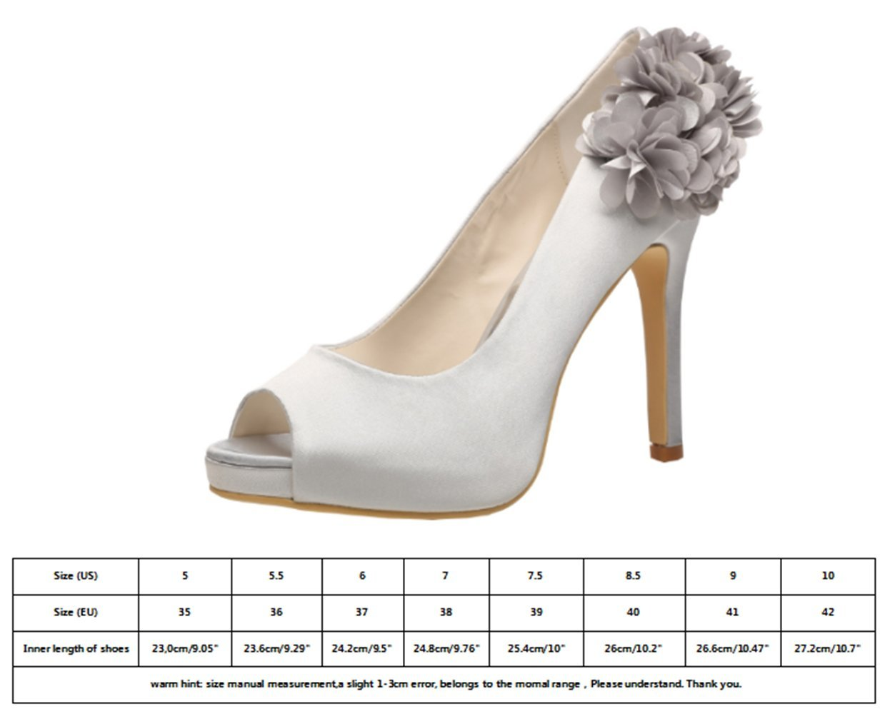 M MULGARIA Women High Heel Pumps Platform Peep Toe Flowers Shoes Satin Evening Prom Wedding Shoes Flowers B0791F6WHQ EU 37/6B(M)US|Silver 0dc815