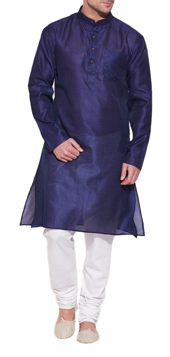 Emerald Blue Silk Kurta for Men - Men's Indian Fashions - Polyester Dupion