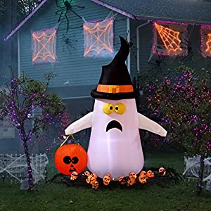 YUNLIGHTS 4 FT Halloween Inflatables, Blow up Inflatables Cute Ghost with Hand-held Pumpkin Light for Outdoor Indoor…
