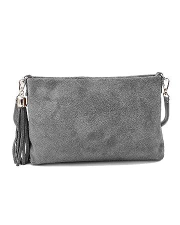 41ffb6d7bc92f Ledertasche braun schwarz blau grau klein Lederhandtasche Umhängetasche  Fransen Leder Tasche Wildleder Handtasche Damen (grau