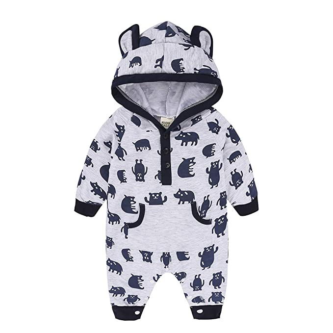 Amazon.com  Baby Romper Jumpsuit Hoodie Outfit Girl Boy Organic Cotton  Coverall Long Sleeve Bodysuit Animal Print Button Crotch Pajamas  Clothing 941947888